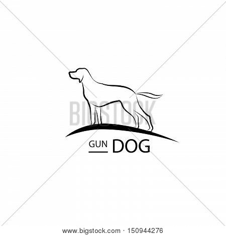 Dog Symbol. Pet Logo Design. Gun Dog Standing Silhouette