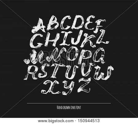 Ink alphabet A to Z freehand stylish. Illustration made with black dye isolated on black white decorated letters. Upper case. Large abc letters set good for creative lettering. Vector illustration