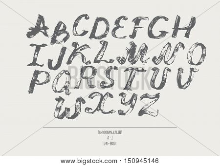 Ink alphabet A to Z freehand stylish. Illustration made with black dye isolated on beige grey decorated letters. Upper case. Large abc letters set good for creative lettering. Vector illustration