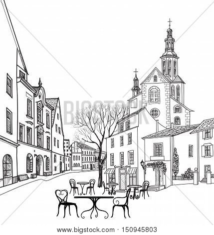 Street cafe in old city. Cityscape - houses buildings and tree on alleyway. Old city view. Medieval european castle landscape. Pencil drawn sketch