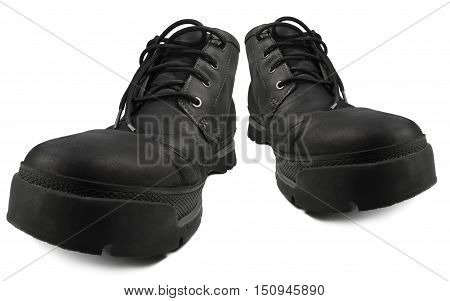 Everyday Smart Casual Waterproof Hiking Boots Black Nubuck Leather Rugged GTX Style Stylish Comfortable Men's Boot Pair Large Detailed Isolated Macro Closeup Perspective Studio Shot