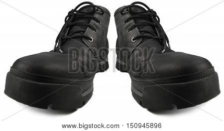 Everyday Smart Casual Waterproof Hiking Boots Black Nubuck Leather Rugged GTX Style Stylish Comfortable Men's Boot Pair Large Detailed Isolated Macro Closeup Studio Shot