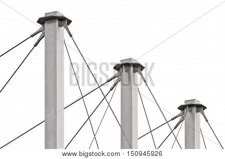 Tied Suspension Roof Cables Three Tall Grey Isolated Masts Cable-suspended Swooping Rooftop Pylon Anchors Pale Blue Summer Sky Large Detailed Horizontal Closeup Contemporary Construction Concept