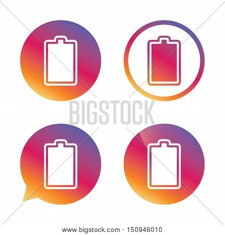 Battery fully charged sign icon. Electricity symbol. Gradient buttons with flat icon. Speech bubble sign. Vector