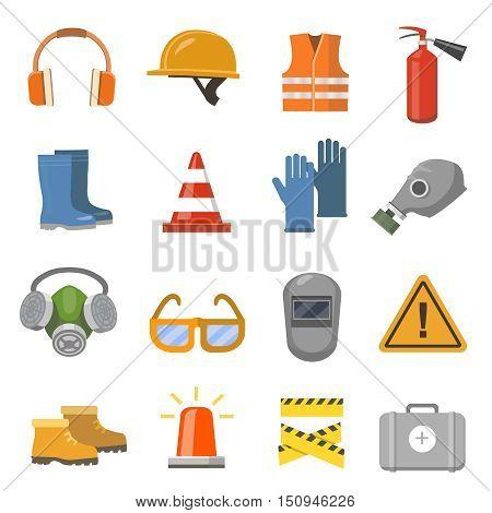 Safety work flat icons set. Vector illustration