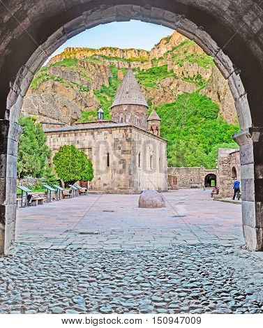 The arched entrance to the medieval monastic complex of Geghardavank (Geghard) famous for the ancient cave and named aftter the Holy Spear Kotayk Province Armenia.