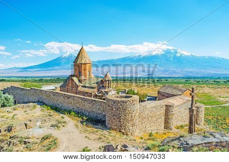 The fortified Khor Virap Monastery located on Ararat Plain not far from Greater Ararat Mount Pokr Vedi Armenia.