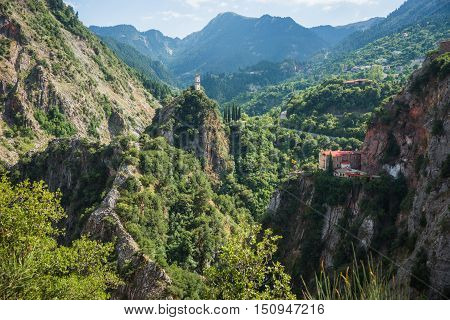 Scenic mountain landscape with monastery in Prusos in Evritania Greece