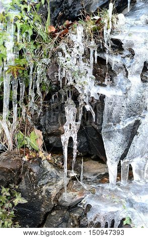 Big icicles on the mountain (winter nature)