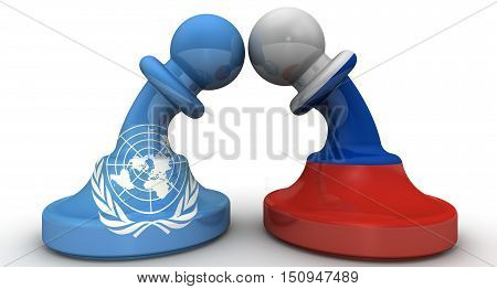 The confrontation between the Russian Federation and the United Nations. Chess pieces - pawns in the colors of flags of Russia and the United Nations bent to each other. The concept of confrontation (or combating enmity) the warring parties. Isolated. 3D