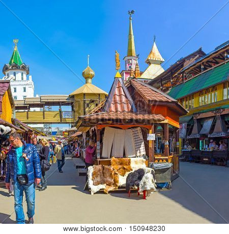 MOSCOW RUSSIA - MAY 10 2015: The Vernissage Market in Izmailovo is the best place to choose traditional souvenirs enjoy arts and crafts try national dishes and beverages on May 10 in Moscow.