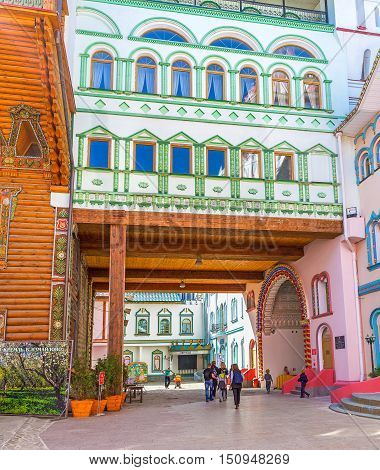MOSCOW RUSSIA - MAY 10 2015: The Izmailovsky Kremlin offers different attractions to the tourists there are a lot of museums art galleries stores and craft centers here on May 10 in Moscow.