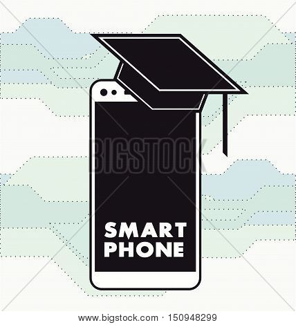 Flat academic scholarly smartphone Icon Vector illustration