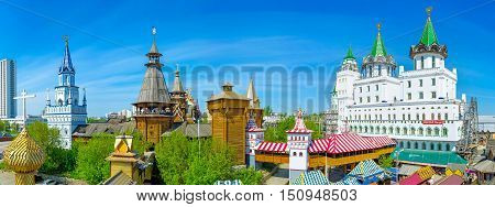 MOSCOW RUSSIA - MAY 10 2015: The view from the roof of Izmailovsky Market on the timbered towers palaces and covered galleries of Izmailovsky Kremlin on May 10 in Moscow.