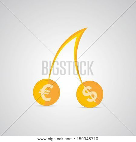 Cherries with dollar and euro coins instead of the berries. Cherries icon. Gold coins with euro and dollar symbol. Vector illustration.