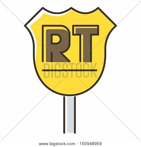 Road sigh icon. Flat illustration of road sigh vector icon for web.