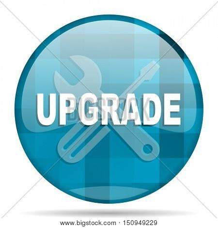upgrade blue round modern design internet icon on white background