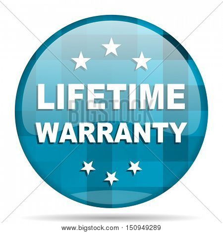 lifetime warranty blue round modern design internet icon on white background