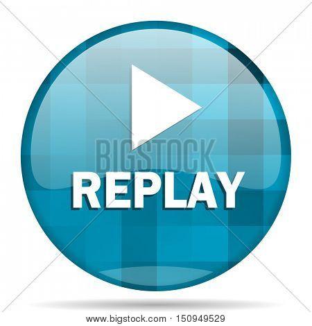 replay blue round modern design internet icon on white background
