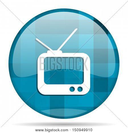 tv blue round modern design internet icon on white background