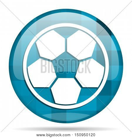 soccer blue round modern design internet icon on white background