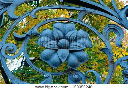 Architecture metal element in form of flower at the art metal fence of Mikhailovsky garden in St Petersburg Russia - architecture autumn closeup view of fence detail on the background of autumn leaves