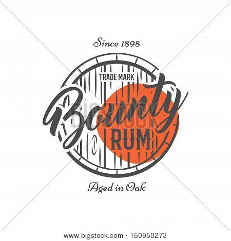 Vintage handcrafted label, emblem with old barrel and vector sign - bounty rum. Sketching filled style. Retro design for advertising, tee, t shirt prints. Isolate on white and red shape. Vector.
