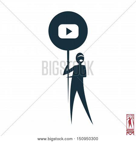 Man Person Basic body position Stick Figure Icon silhouette vector sign,man holding a logo of social media, social, media, logo, display,youtube