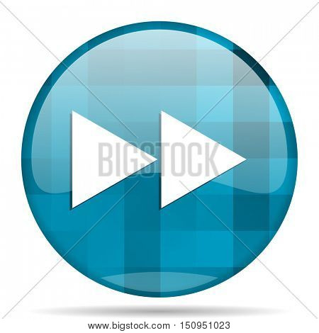rewind blue round modern design internet icon on white background