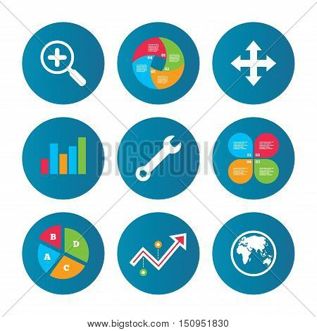 Business pie chart. Growth curve. Presentation buttons. Magnifier glass and globe search icons. Fullscreen arrows and wrench key repair sign symbols. Data analysis. Vector