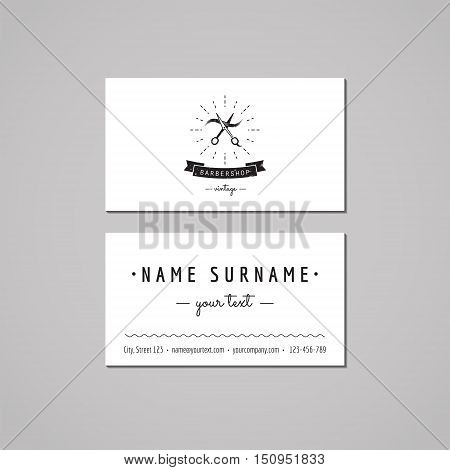 Barbershop (hair salon) business card design concept. Logo with scissors and a hair strand. Vintage hipster and retro style. Black and white.