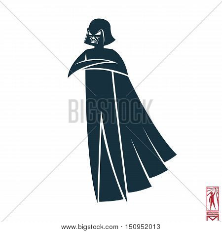 Man Person Basic body position Stick Figure Icon silhouette vector sign,Star Wars, cosplay, Darth Vader, cape, helmet, dark force poster