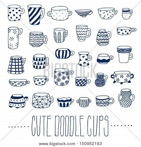 Cute naive blue cups hand drawn vector set. Kids style drawing.