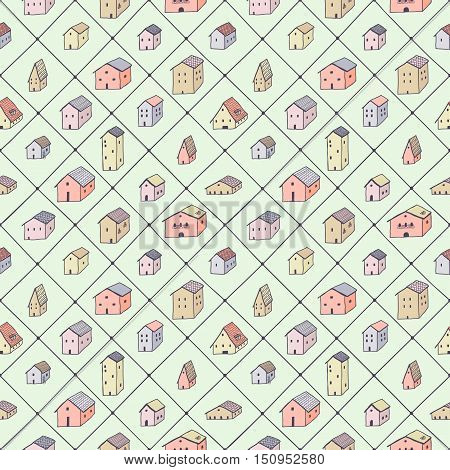 Cute naive houses and rhombus multicolored seamless vector pattern. Kids style drawing.