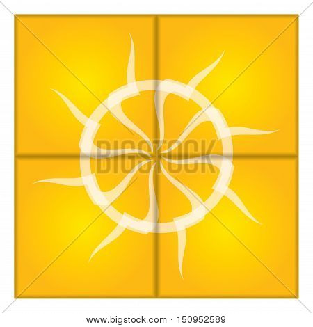 Artistic sun illustration on abstract background. Vector graphics.