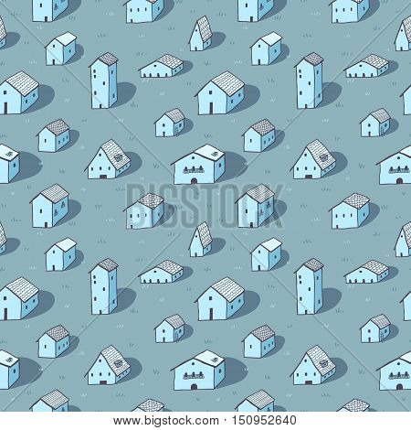 Cute naive house seamless vector blue pattern. Kids style drawing.