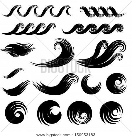 Wave element set design collection. Ocean water wave swirl silhouette