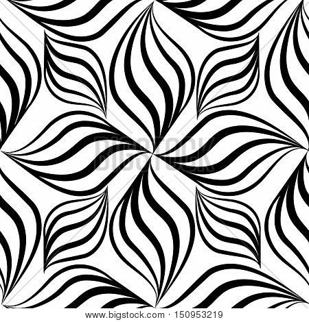 Abstact seamless pattern. Floral line swirl geometric texture. Stylish abstract ornament. Flower background black and white