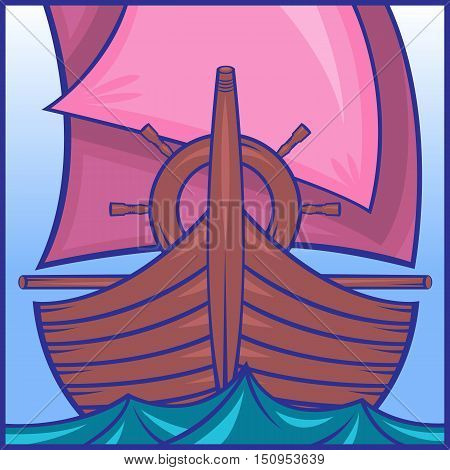 Icon depicting a sailing ship in the sea on the waves. Prow of a ship, the steering wheel, pink sails, blue waves