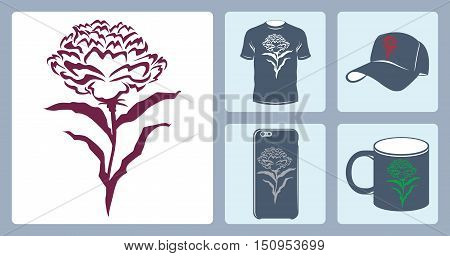 Vector peony logo to print on t-shirt. Vector peony logo to be printed on a mug. Vector peony logo print on the phone's case. Vector logo peony print baseball cap. Flat set.
