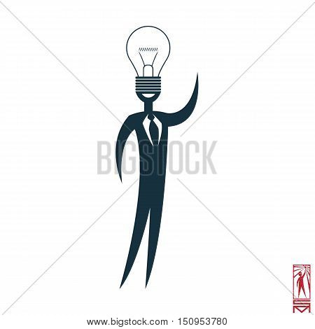 Man Person Basic body position Stick Figure Icon silhouette vector sign,businessman, tie, a symbol of power, idea, thought, think of genius, light, Eureka, creative