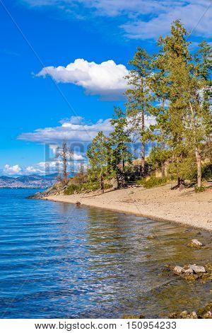 Majestic mountain lake in Canada. Okanagan Lake. Kelowna. Vancouver.