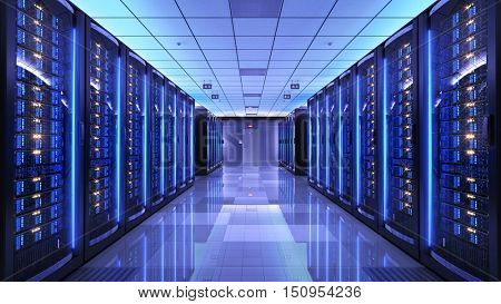 Server racks in server room data center. 3d render