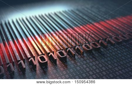 3D illustration. A barcode is an optical machine-readable that describes something about the object that carries the barcode.