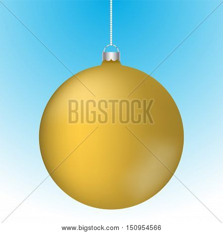 Realistic 3D gold christmas ball decoration hanging on white chain. Rounded yellow ball decoration with reflections on blue to white gradient backdrop.