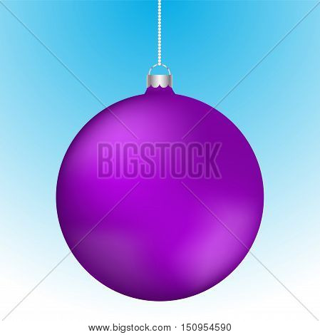 Realistic 3D purple christmas ball decoration hanging on white chain. Rounded violet ball decoration with reflections on blue to white gradient backdrop.