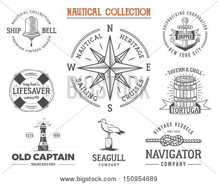 Vintage nautical stamps set. Old ship retro style. Sailing labels, emblems illustration. Nautical graphic symbols - rope, wind rose, anchor. nautical sketch design. Adventure lifestyle.