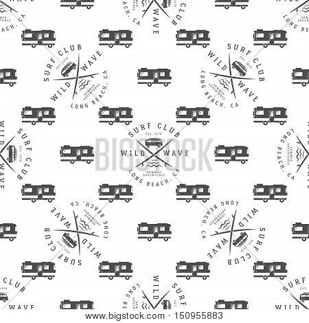 Surfing Seamless pattern with surfing van. Surfer club badge. Summer wallpaper printing design with adventure symbols - combi, rv trailer. Monochrome design. Use for print or web projects.