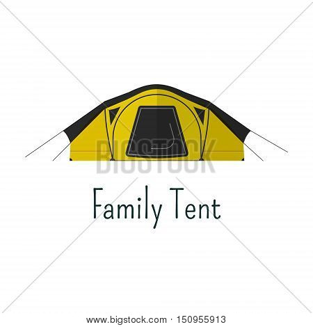 Family tent flat icon. Camping tent color pictogram. Tent symbol for Vacation with family. Summer graphics for web infographics, projects, printing. design.