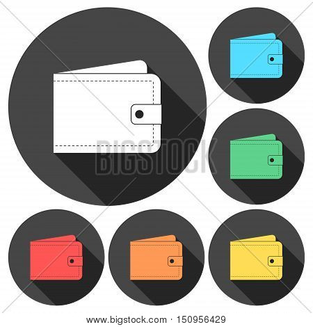 Wallet - vector icons set with long shadow